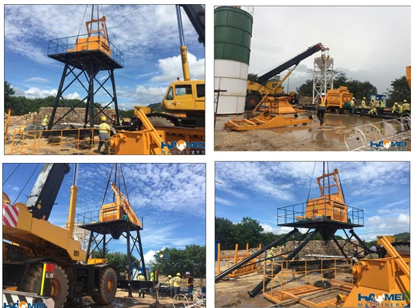 haomei 50m3/h concrete batching plant under install in surigao