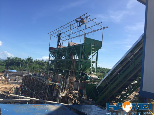 haomei 60m3/h stationary concrete batching plant install in Manila