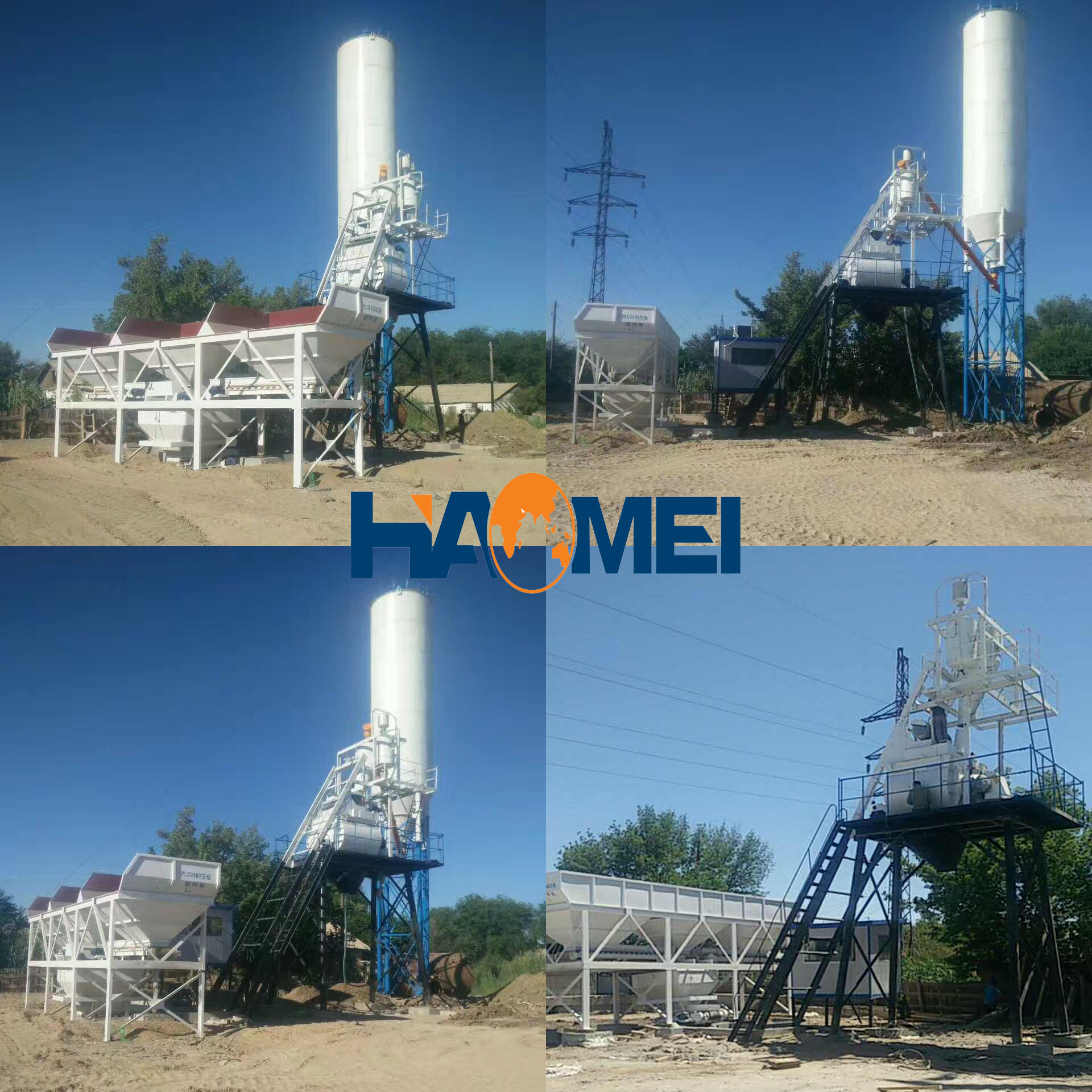 HZS75 concrete batching plant in Kazakhstan