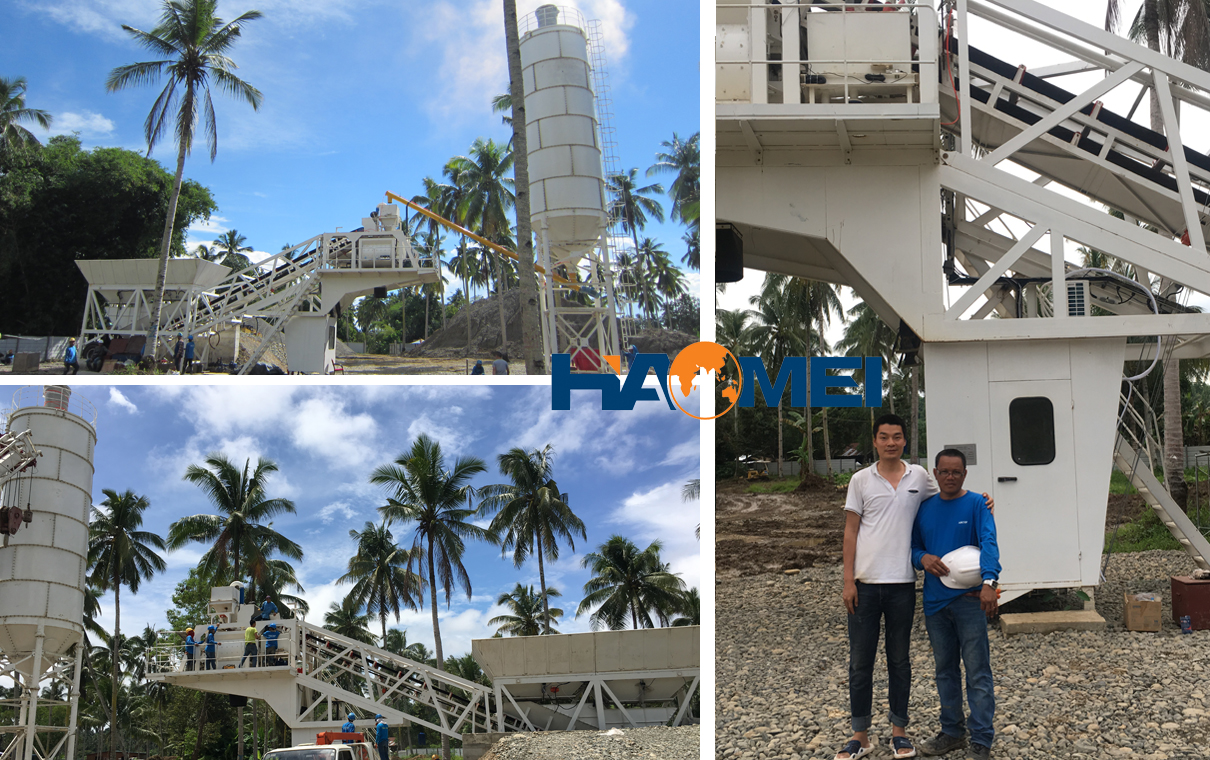YHZS60 concrete batching plant installed in Davao