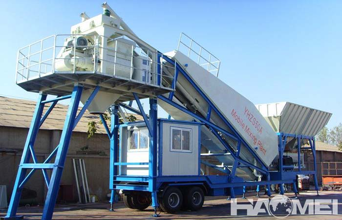 Mobile concrete mixing plant factory