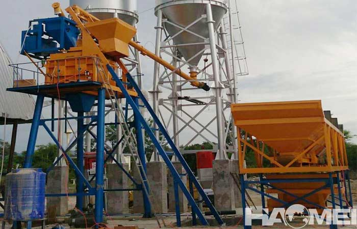 Twin shaft mixer batching plant HZS