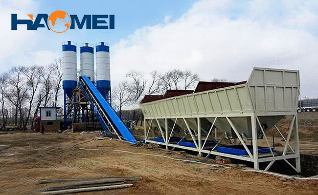 High capacity large concrete batching plant